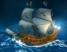 3D model game-ready Sailing Ship
