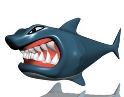 game-ready 3d asset hungry shark rigged