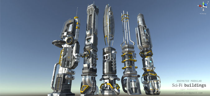 scifi buildings - animated and modular 3d model low-poly rigged animated max obj mtl 3ds fbx tga 1