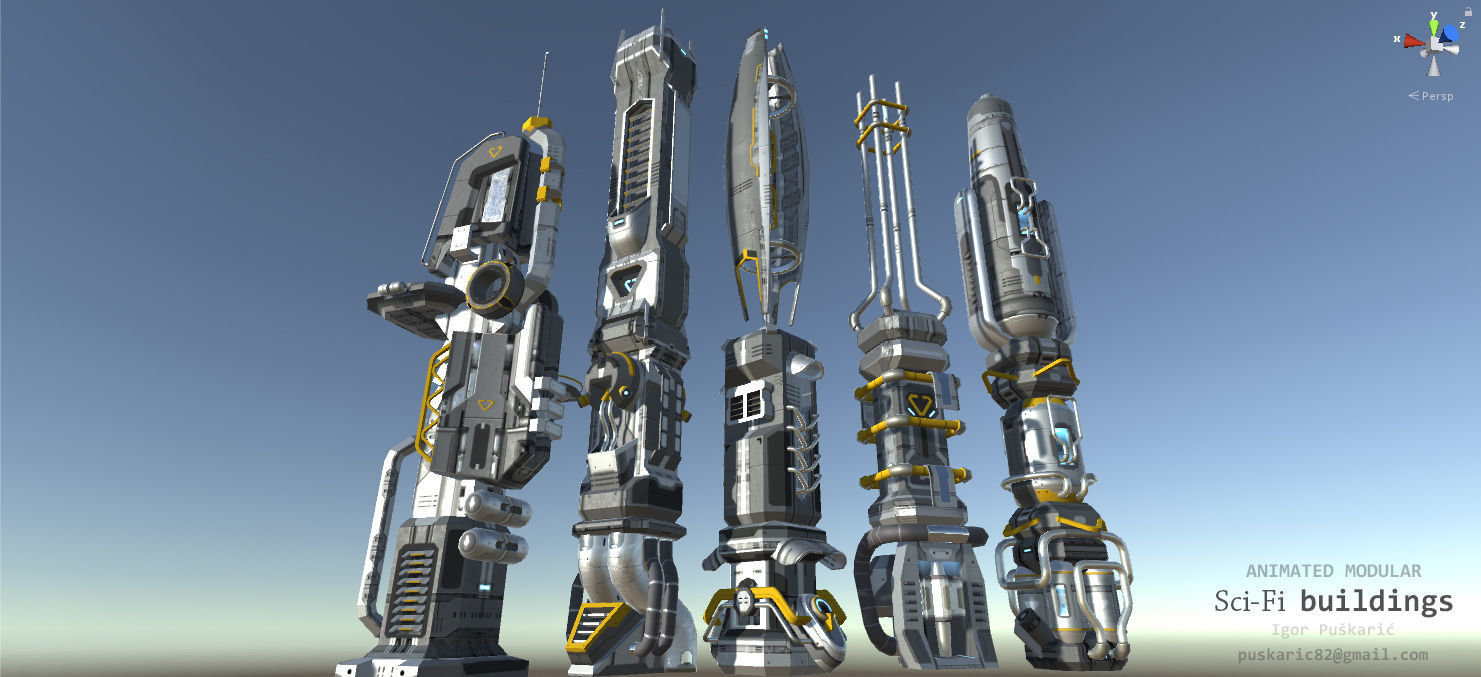 SciFi Buildings - Animated and modular