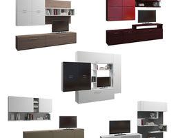 set 3D model Set of five TV shelfs