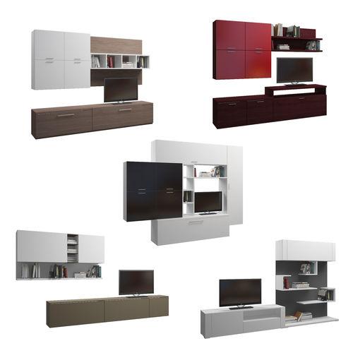 set of five tv shelfs 3d model max fbx 1