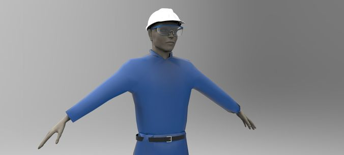 worker 1 3d model max obj 3ds fbx mtl 1