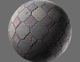 3D model Weathered concrete pavement curb