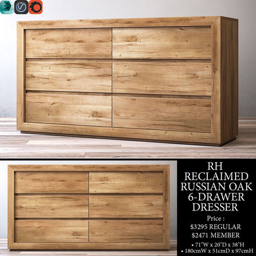 rh reclaimed russian oak 6-drawer dresser 3d model max obj mtl 3ds fbx mat 1