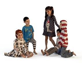 3D model Girl dress t shirt skirt Baby clothes top