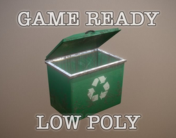 Green Trash Container low poly game ready 3D asset