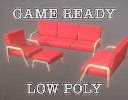 Living Room Seating 5 color low poly game 3D asset