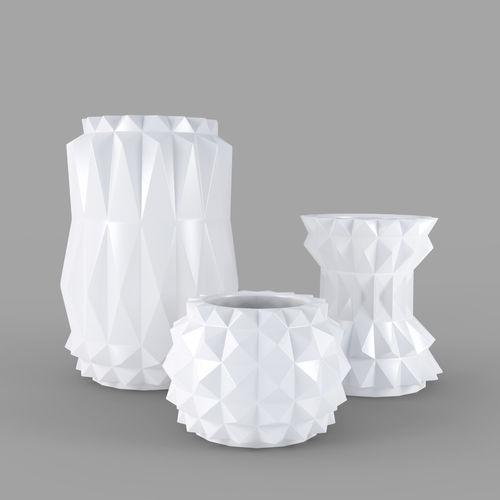 modern decor vase set - white 3d model obj mtl 3ds fbx dae 1
