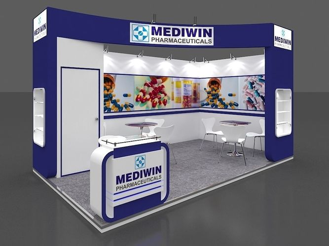 exhibition stall 3d model 5x3 mtr 2 sides open 3d model max 1