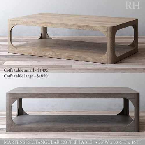 small rectangle coffee table. Rh Martens Rectangular Coffee Table 3d Model Max Obj 3ds Fbx Mtl Mat 1 Small Rectangle