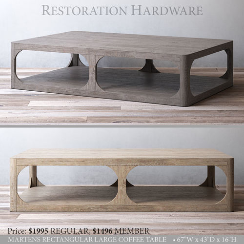 Rh Martens Rectangular Large Coffee Table 3d Model Max Obj Mtl 3ds Fbx Mat  1 ...