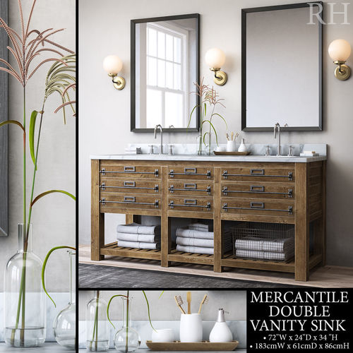 rh mercantile double vanity sink 3d model max obj mtl fbx mat 1
