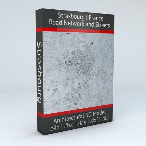 strasbourg road network and streets 3d model obj mtl fbx c4d dxf dae 1