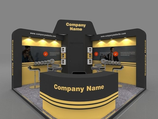exhibition stall 3d model 4x4 mtr 2 sides open 3d model max 1