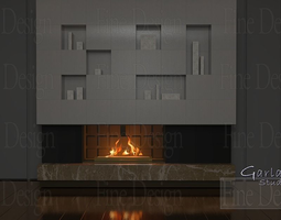 3D model FIREPLACE wide block ceramic T