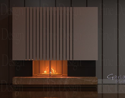 3D model FIREPLACE refractive accent wide ceramic C