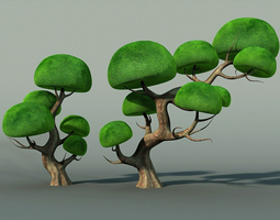 grass 3D asset Cartoon Tree
