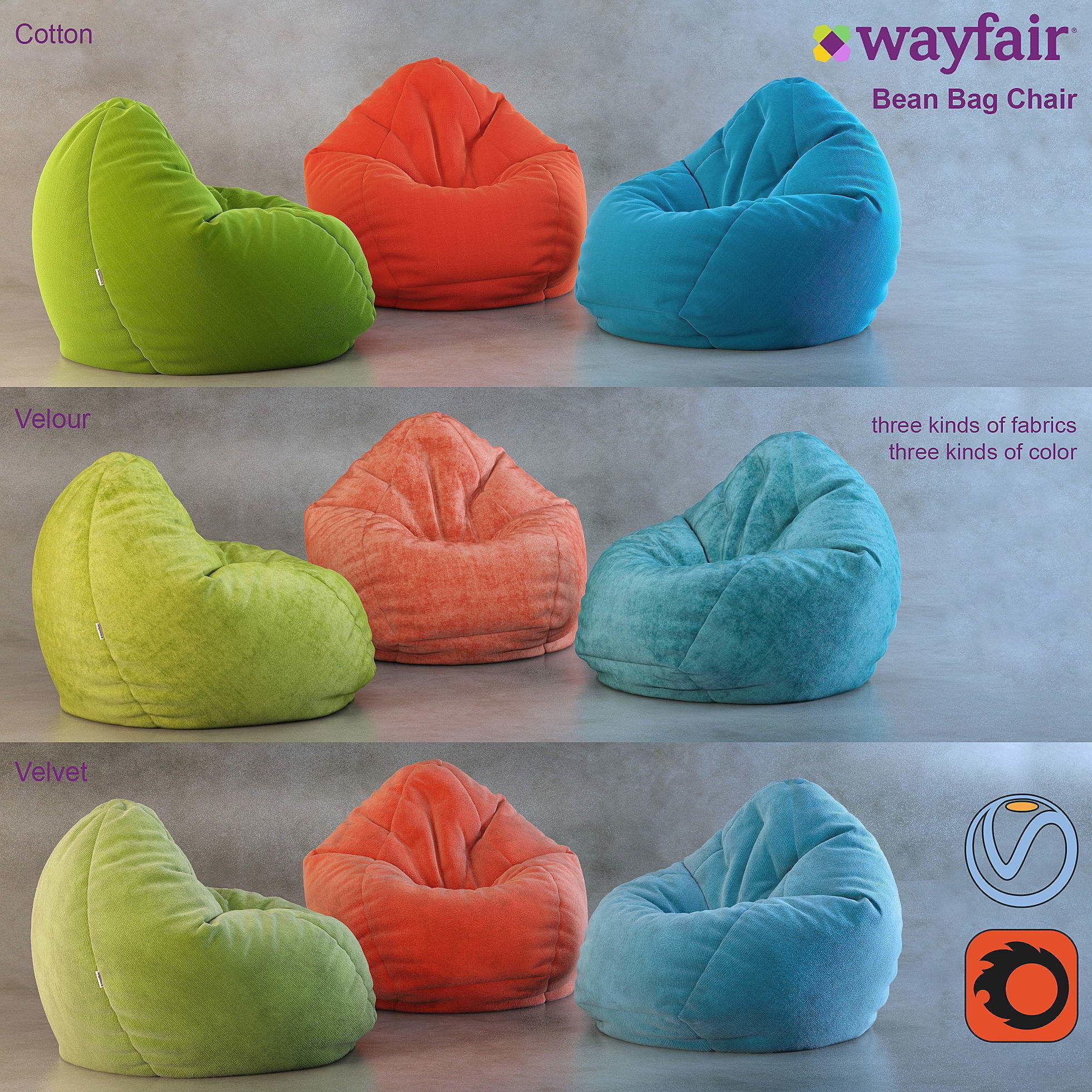 Terrific Bean Bag Chair Wayfair 3D Model Pabps2019 Chair Design Images Pabps2019Com
