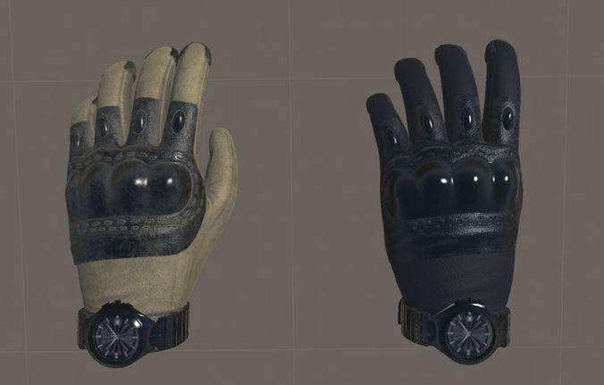 vr tactical gloves  3d model rigged 3ds fbx unitypackage prefab 1