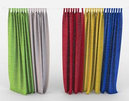 3D model Multi colored curtains in the nursery textiles