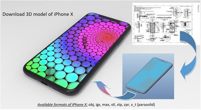 iphone x - original dimensions 3d model 3d model 3d model max obj mtl stl ige igs iges stp 1