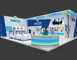 Exhibition stall 3d model 12x10 mtr 2 sides open Plastics