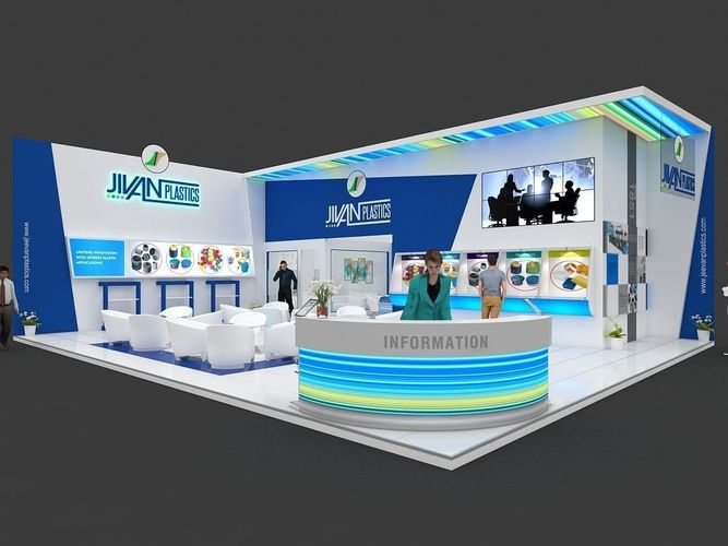 Large Exhibition Stall : Exhibition stall d model mtr sides open plastics