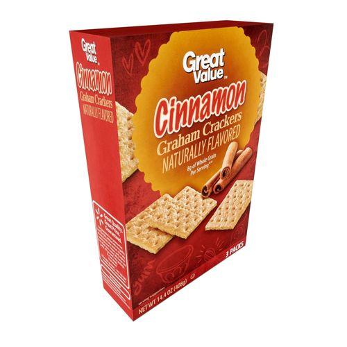 Great Value Grahams Crackers Cinnamon 3 Packs 14 Oz