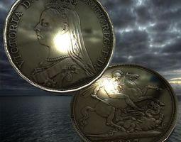 3D model Queen Victoria coin