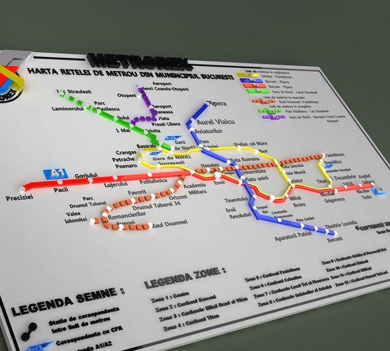 Bucharest Metrorex 3d Map Romania Cgtrader