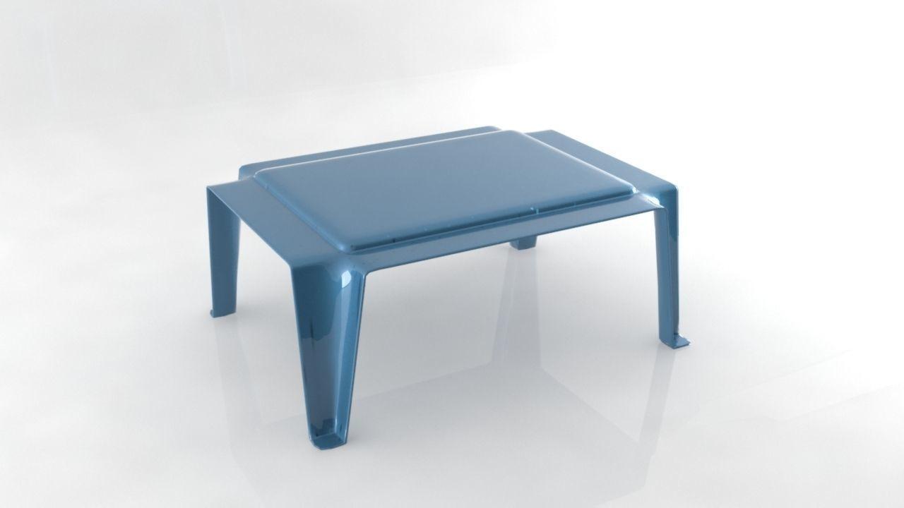 Plastic table simple stool 3D model
