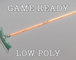 3D model Green Rake low poly game ready PBR