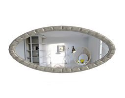 3D Large Oval Wall Mirror living