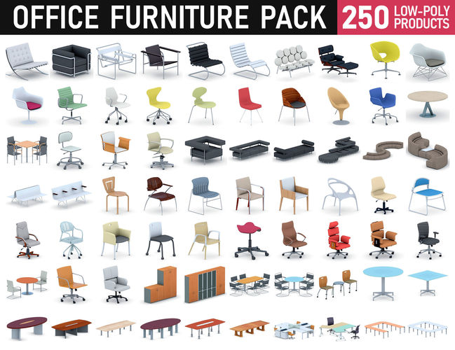 office furniture collection 3d model max obj mtl 3ds fbx dae 1