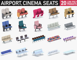 Cinema and Airport Chairs 3D model