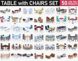 3D model Table with Chairs Collection