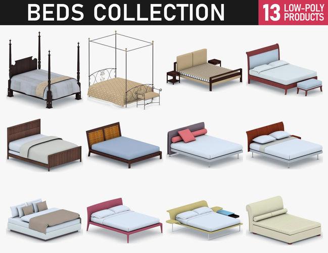 beds collection 3d model max obj mtl 3ds fbx dae pdf 1