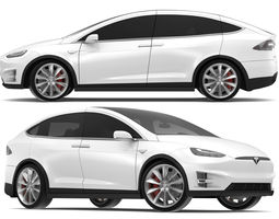 3D 2017 Tesla Model X Solid White - Pearl White Multi-coat