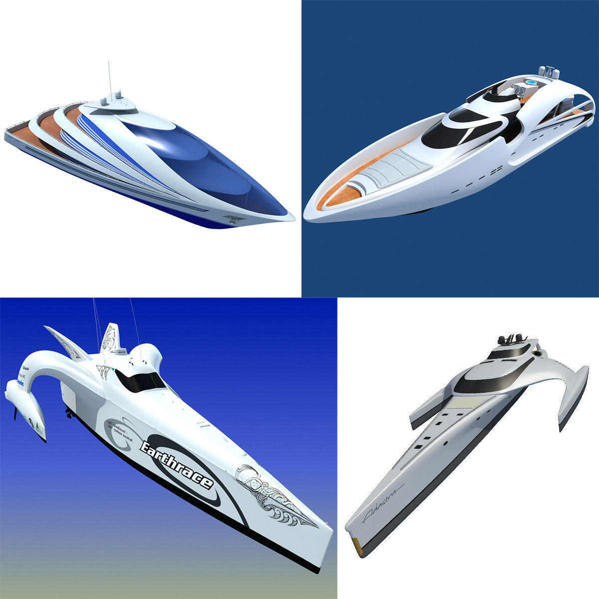Collection of 4 Luxury Yachts