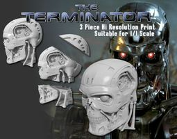 t-800 single and 3 piece high detail head 3d printable model