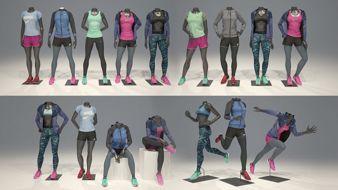 woman mannequin nike full pack 3d model max obj fbx 1
