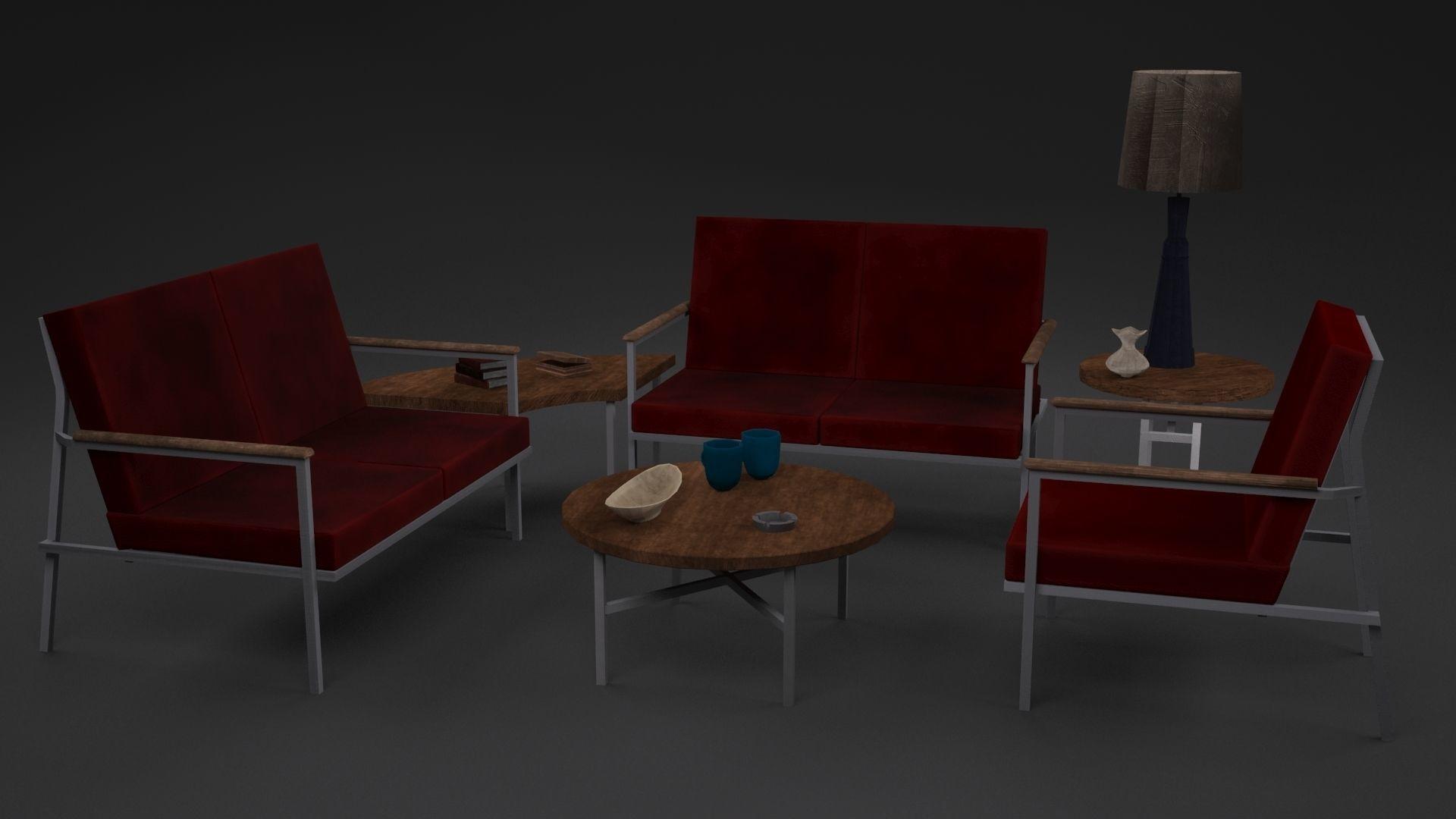 3D model Red Sofa Set | CGTrader