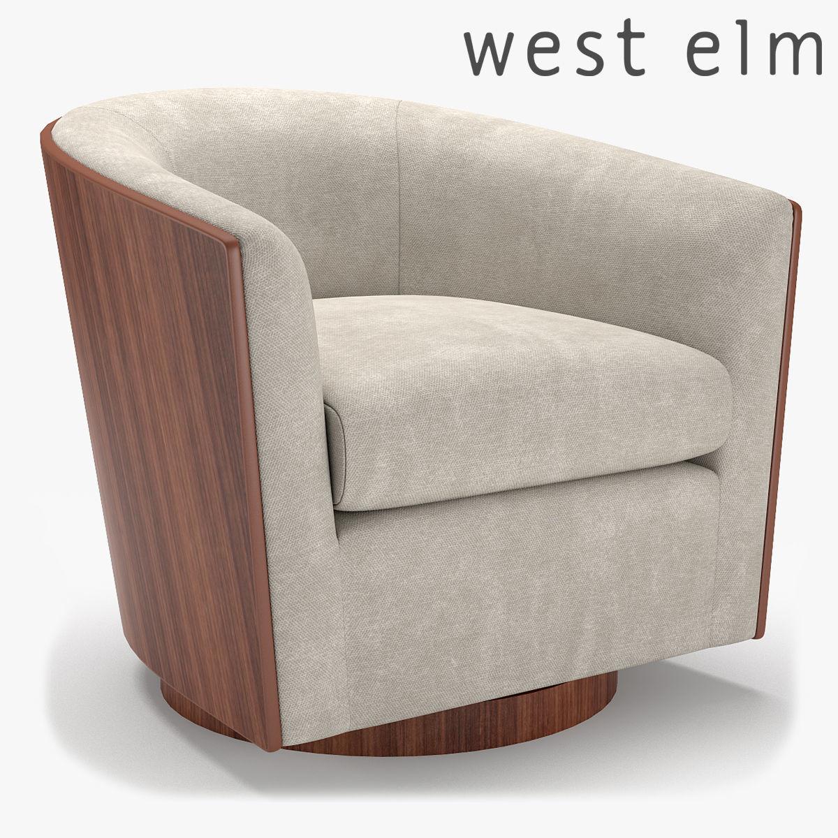 Merveilleux West Elm Luther Swivel Chair 3d Model Max Obj Fbx 1 ...