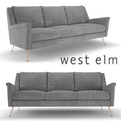 West Elm Carlo Mid Century Sofa 3D Model