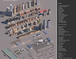 3D model Realistic Low poly Cartoon City Modular