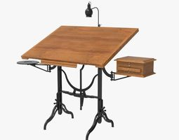 antique drafting table 3d