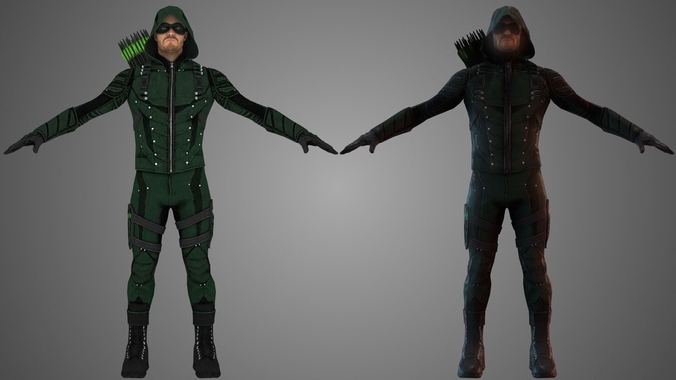 green arrow tv show 3d model low-poly rigged animated obj fbx c4d mtl 1
