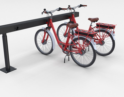 Electric City Bicycle and Station Red 3D