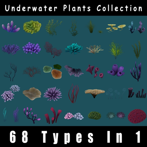 underwater plants pack 3d model obj fbx ma mb tga 1